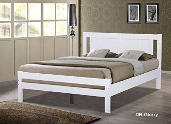 Glory White Wooden Slatted Bed